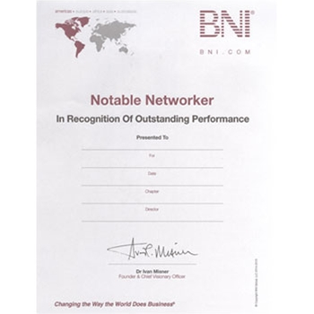 #107 BNI Notable Networker Certificates; Quantity 10