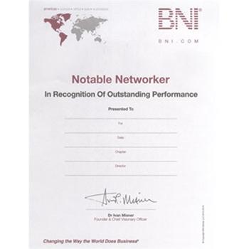 #107 BNI Notable Networker Certificates; Quantity 10