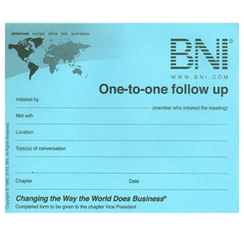 BNI One-To-One Follow Up Forms - Blue Slips; Quantity - 100