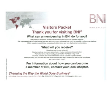 BNI Visitor Packet Envelopes White