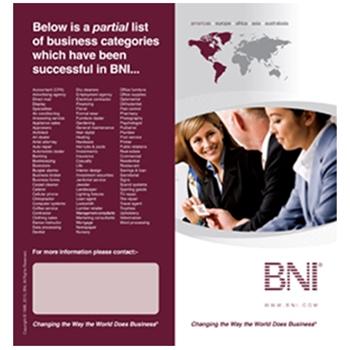 BNI Testimonial Bi-fold Brochure - Colour; Quantity - 10